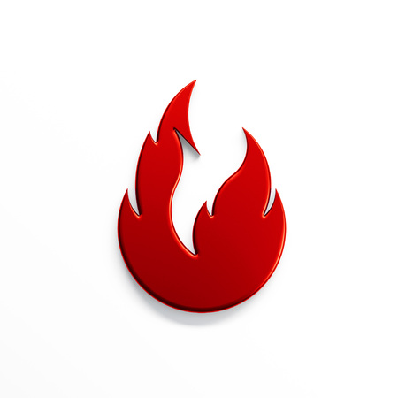 Fire flame with negative space. 3D render illustration isolated symbol