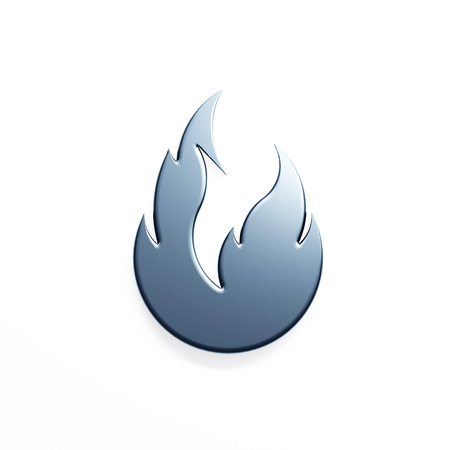 Silver fire flame with negative space. 3D render illustration isolated symbol 写真素材 - 107798397