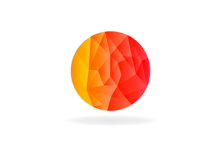 Abstract circular sphere, low poly vector design illustration