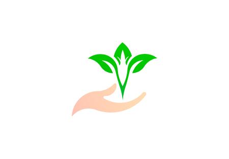 Leaf on the hand, green natural symbol environment logo vector design illustration 写真素材 - 107950868