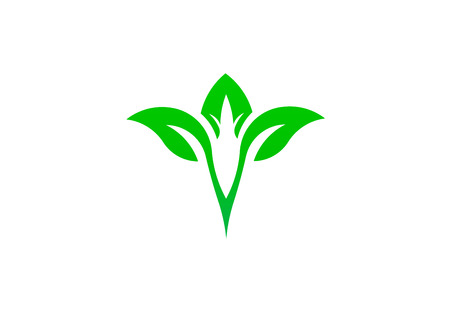 Leaf green natural symbol environment logo vector design illustration Illustration