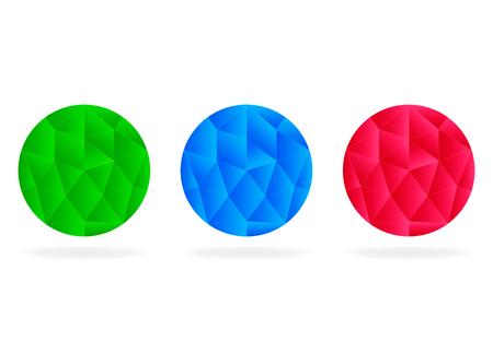 Abstract circle set, low-poly vector logo  イラスト・ベクター素材