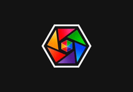 Colorful abstract hexagon shape, vector logo