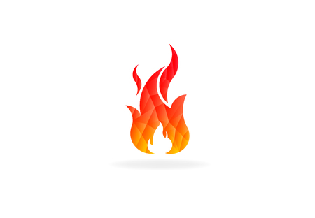 Fire flame with negative space. Low poly vector logo 写真素材 - 108202419
