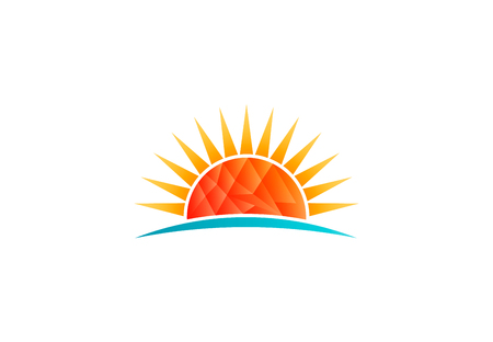 Sun shining at beach, low poly vector logo