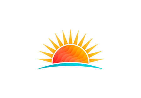Sun shining at beach, low poly vector logo 写真素材 - 108202426