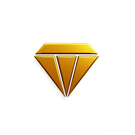 Diamond gem crystal. 3D render illustration