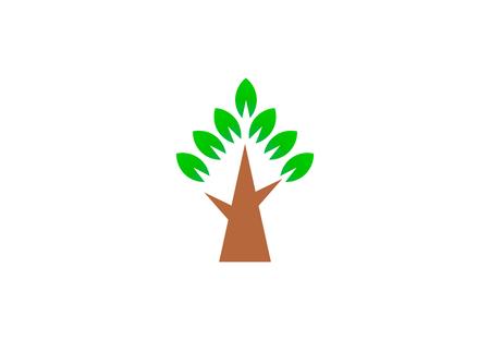 Simple green tree. Vector Logo Symbol Design Illustration Illustration