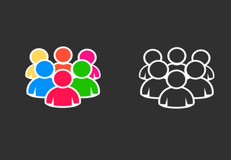 People group team, icon vector set  イラスト・ベクター素材