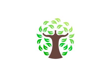 Green tree environmental, vector logo. Life growth design illustration