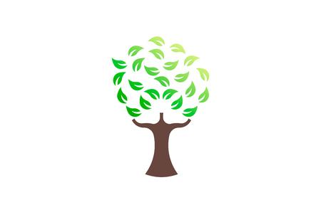 Green tree environmental, vector logo. Life growth design illustration 写真素材 - 109790173