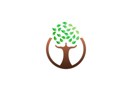 Green tree environmental, vector logo. Life growth design illustration 写真素材 - 109790174