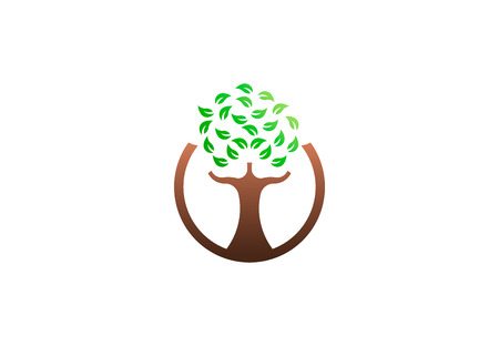 Green tree environmental, vector logo. Life growth design illustration
