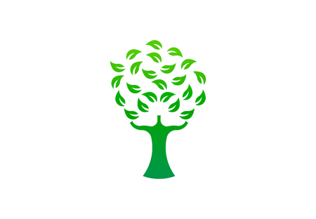 Green tree environmental, vector logo. Life growth design illustration 写真素材 - 109790175