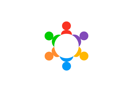Teamwork group people, vector logo Illustration