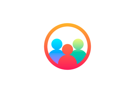Teamwork group people, vector logo Illustration