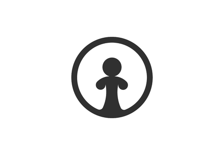 One person, circle vector icon  イラスト・ベクター素材