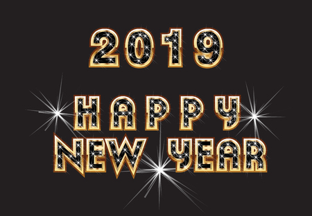 2019 Happy New Year Greeting Text Stock Photo