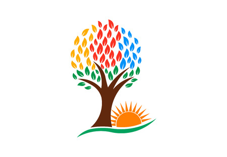 Nature Tree and Vibrant Sun, vector logo