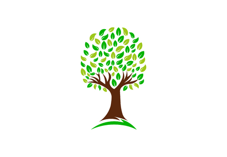 Green Nature Tree, Vector Logo Design Illustration
