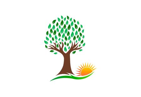 Nature Tree and Vibrant Sun, vector logo design illustration  イラスト・ベクター素材