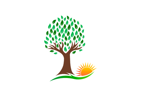 Nature Tree and Vibrant Sun, vector logo design illustration Stock Photo