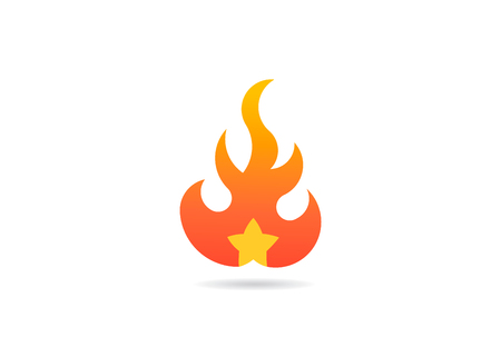 Fire flame with star. Vector Logo Symbol Design Illustration 写真素材 - 109944733