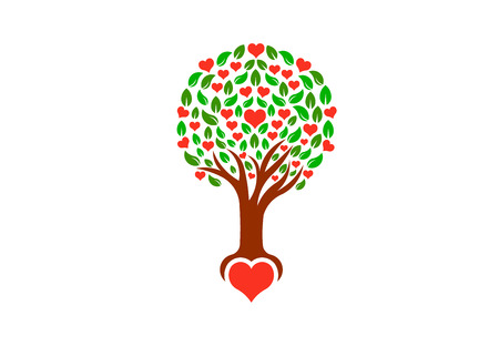Tree with loving hearts, vector logo