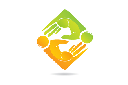 People business hand teamwork, icon vector logo Illustration