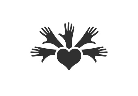 Hands of people, unity and peace, vector logo Vettoriali