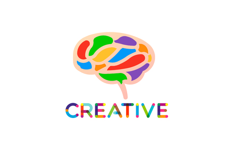 Creative and smart brain, vector logo Stock Illustratie