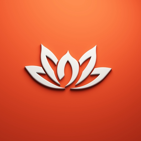 Lotus flower, 3D render illustration isolated symbol Stockfoto