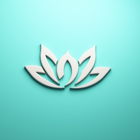 Lotus flower, 3D render illustration isolated symbol Stock Photo