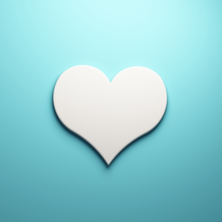 Caring heart 3D render illustration, isolated symbol