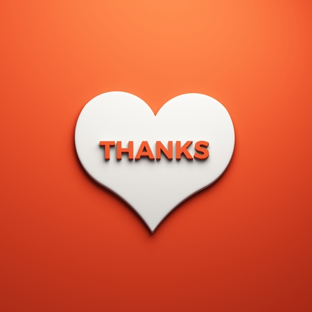 Heart with thanks text, 3D render illustration isolated symbol
