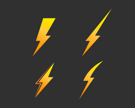 Lightning bolt, electricity power vector set Фото со стока