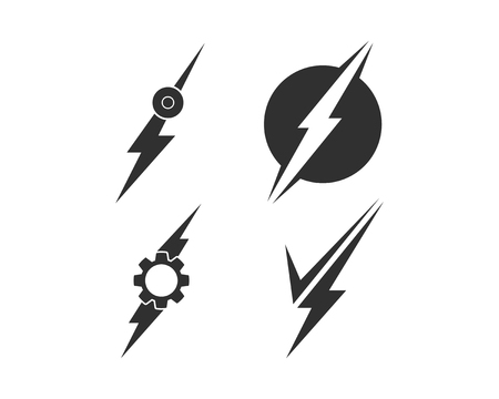 Lightning bolt, electricity power vector set Stock Photo