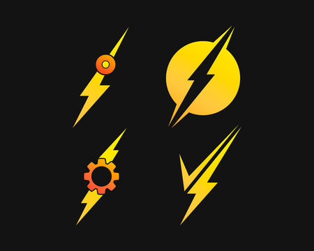 Lightning bolt, electricity power vector set Stockfoto