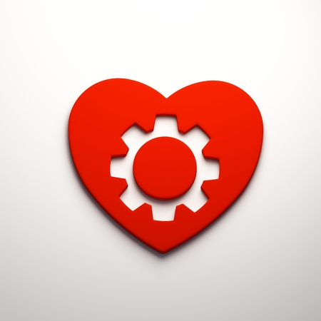 3D Heart gear render isolated symbol 写真素材 - 111633971