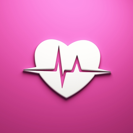 3D Heart beat cardiogram render isolated symbol