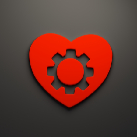 3D Heart gear render isolated symbol Stockfoto