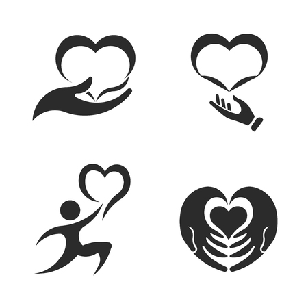 Caring hands. Valentines Day. Vector icon set design illustration 写真素材 - 126000838