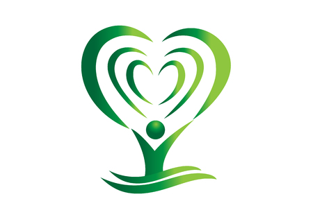 Green tree heart abstract vector, design illustration