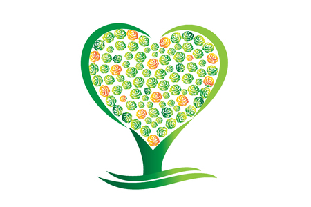 Green tree heart abstract vector Иллюстрация