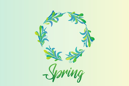 Spring with green wreath leafs, vector Illustration