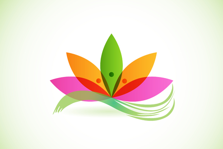 Lotus flower with abstract hands, vector