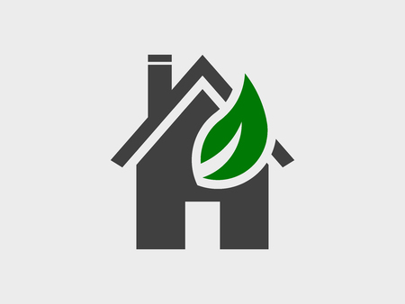 House and eco-leaf, icon vector