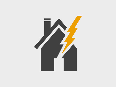 House and lightning damage, vector icon