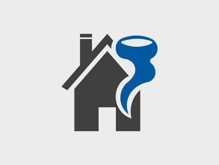 House and hurricane disaster, icon vector