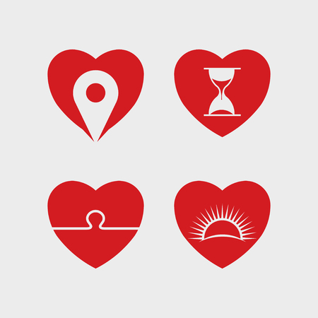 Heart abstract icon vector set design illustration
